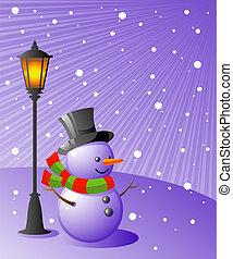bonhomme de neige, soir, stands, neigeux, lampe, sous