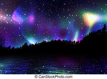 boréal, aurore, coloré