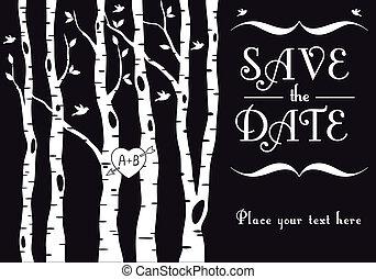 bouleau, invitation, mariage, arbres