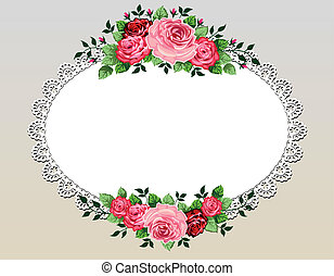 bouquet, vendange, cadre, roses