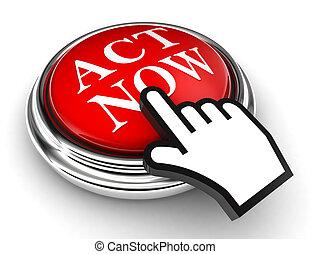 bouton, main, acte, maintenant, indicateur, rouges