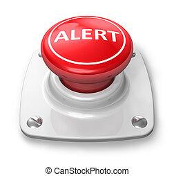 bouton, rouges, alerte