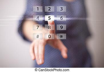 bouton, urgent, main, numérique