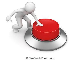 bouton, urgent, rouges, urgence, homme