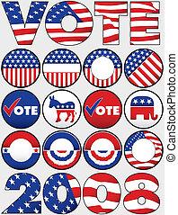 boutons, divers, politique, icônes