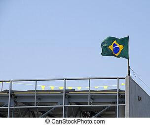 brésil, bâtiment, drapeau, nouveau