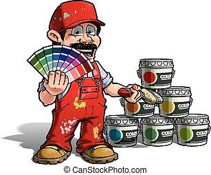 bricoleur, couleur, -, uniforme, peintre, cueillette, rouges