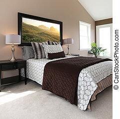 brun, blanc, moderne, lit, nightstands.