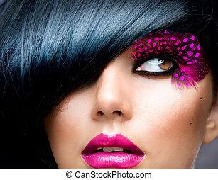 brunette, coiffure, mode, portrait., modèle