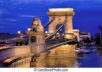 budapest, bridge., hongrie, chaîne