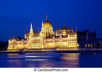 budapest, hongrie, nuit, parlement
