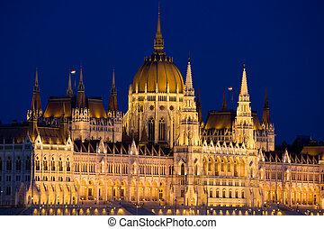 budapest, nuit, hongrois, parlement
