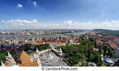 budapest, panoramique, buda, hongrie, colline, château, vue