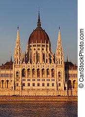 budapest, parlement, coucher soleil, hongrois