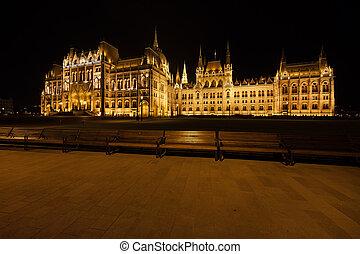 budapest, parlement, hongrois, nuit