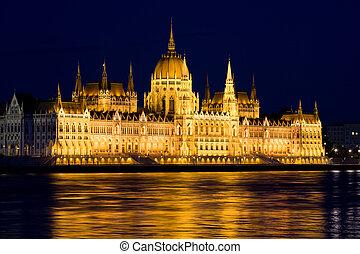 budapest, parlement, nuit