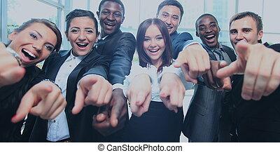 bureau, business, haut, multi-ethnique, pouces, équipe, heureux