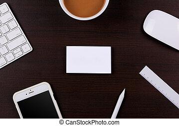 bureau, fonctionnement, mockup, bois, table., sommet, conception, gabarit, endroit, constitué, vue