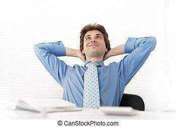 bureau, homme relâche, business, sourire