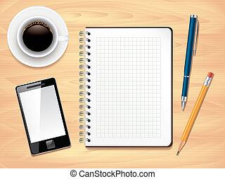 bureau, photo, sommet, bloc-notes, réaliste, vecteur, bureau, vue