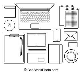 bureau, vue, template., sommet, conception, constitué, mockup
