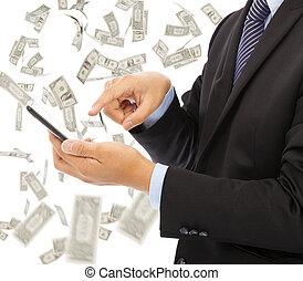 business, argent, pluie, téléphone, toucher, fond, intelligent, homme