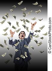 business, atteindre, argent, billets banque, sous, tomber, crier, homme