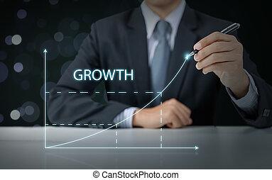 business, graphique, croissance, homme affaires, augmenter, présent