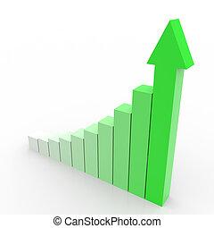 business, graphique, haut, arrow., aller, vert