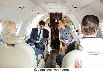 business, jet privé, gens fonctionnement