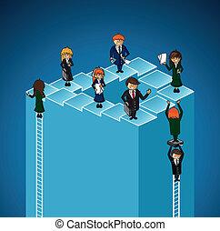 business, niveaux, gens., travail groupe, reussite