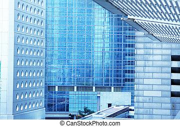 business, résumé, fond, exterior., bâtiments bureau