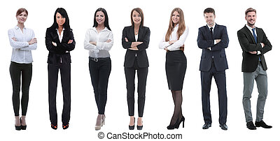 business, réussi, gens, groupe, row., debout