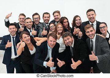business, réussi, projection, haut, pouces, équipe
