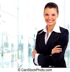 business, sur, isolé, fond, blanc, woman.