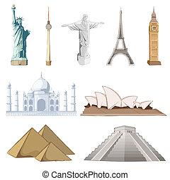 célèbre, ensemble, autour de, mondiale, monument