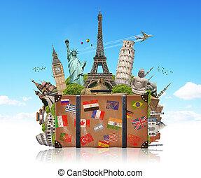 célèbre, entiers, valise, illustration, monument