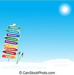 célèbre, voyage ski, illustration, destinations
