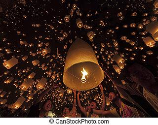 cérémonie, où, lampe, tudongkasatarn, flotter