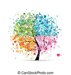 cœurs, saisons, -, été, ton, arbre, quatre, automne, art, winter., printemps, fait, conception