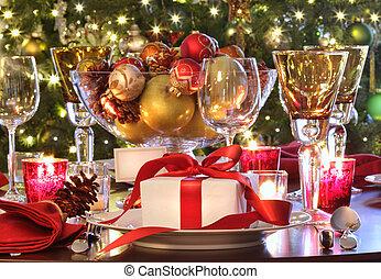 cadeau, vacances, table, rouges, monture, ribboned