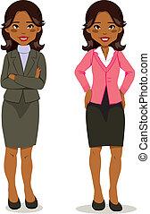 cadre, femme, noir