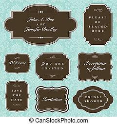 cadre, vecteur, ensemble, mariage