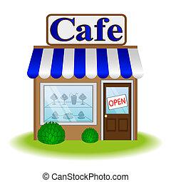 café, façade, icône, vecteur