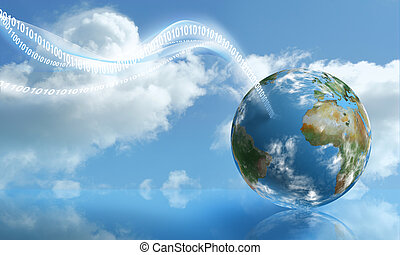 calculer, nuage, atterrissage, numérique