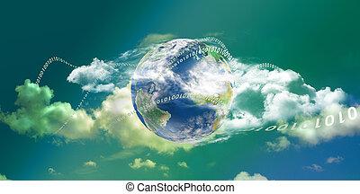 calculer, nuage, panoramique, technologie