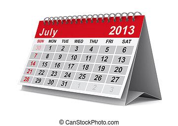 calendar., image, isolé, july., année, 2013, 3d