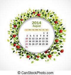 calendrier, août, 2014
