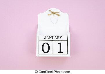 calendrier, concept, vue, cube, rose, bois, janvier, blanc, 01, arrière-plan., année, nouveau, sommet