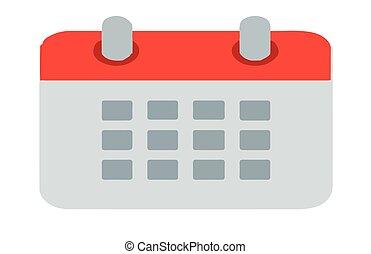 calendrier, fond blanc, icône